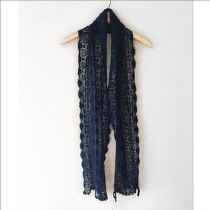 New Lucky Brand long Navy crochet lace scarf NWT